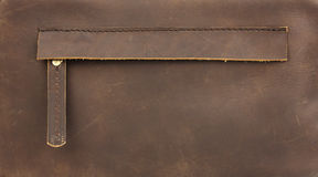 Hidden zippered pocket on natural brown leather. Part of leather bag Stock Images