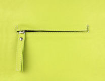 Hidden zippered pocket on natural light green leather. Part of leather bag Stock Images