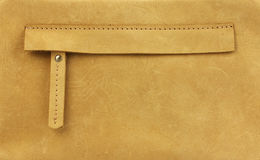 Hidden zippered pocket on natural yellow leather. Part of leather bag Royalty Free Stock Photography