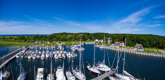 Hiddensee Kloster harbor boat sail island Royalty Free Stock Photography