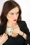 Hide the Cash Woman Stashes Twenty in Top Stock Photography