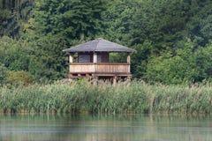 Hide in Chropyne. Birding area Chropynsky rybnik, Czech republic Stock Images