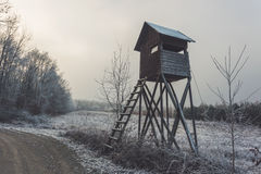 Hide by forest road. Winter rural landscape Royalty Free Stock Images
