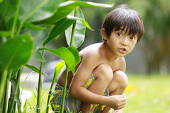 Hide and seek. Portrait of happy joyful little boy playing hide and seek in the summer day at the park Stock Photo