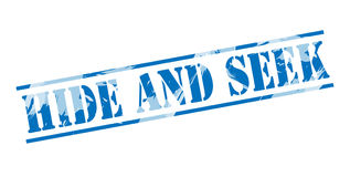 Hide and seek blue stamp Royalty Free Stock Photos