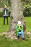 Hide and seek in garden Stock Photo