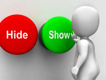 Hide Show Buttons Means Seek Find Look Discover Stock Image