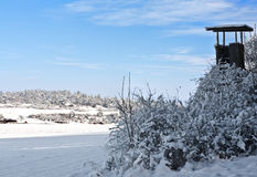 Hide in Winter. This image shows a hide in winter royalty free stock image