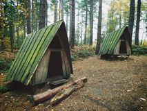 Hideaway Huts Retreat Cabins in the Woods Stock Image