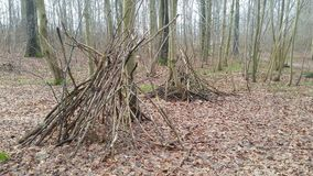 Hideout in the wood. Hideout of broen branches Royalty Free Stock Photo