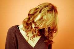 Hiding Behind Hair Royalty Free Stock Images
