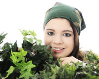 Hiding Behind Thick Ivy Royalty Free Stock Images