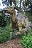 Hiding in a bush Parasaurolophus display model in Perth Zoo Stock Image