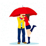 Hiding Kiss Under Umbrella Stock Photo
