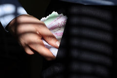 Hiding money Stock Image