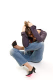 Hiding from problems. Girl tangled into knot, hiding from problems Stock Photography