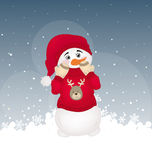 Hiding snowman in a red printed pullover Stock Images