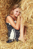 Hiding in straw Stock Photo