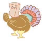 Hiding turkey. Cartoon turkey hiding with paper bag over its head Stock Image
