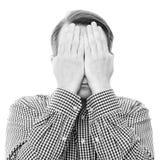 Hiding yourself (monochrome version) Stock Photos
