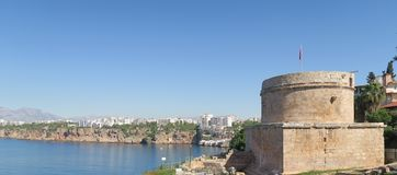 Hidirlik Tower and the Cliffs of Antalya newar the Harbour Royalty Free Stock Photos