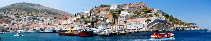 Hidra island, harbour. Hidra island,  Saronic Islands, Greece, harbour, panoramic view Royalty Free Stock Photos