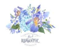 Hidrangea iris composition Royalty Free Stock Image