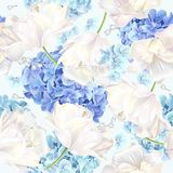 Hidrangea-Tulpen-Blaumuster Lizenzfreie Stockfotografie