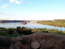 Hidro  dam Zaporozhye City Royalty Free Stock Image