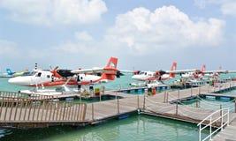 Hidroavião, homem, Maldivas Foto de Stock
