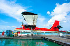 Hidroavião no aeroporto masculino, Maldives Fotos de Stock