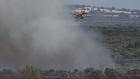 Hidroavión que entra en humo salvaje del fuego metrajes