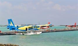 Hidroavión, varón, Maldivas Imágenes de archivo libres de regalías