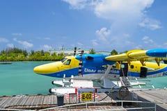 Hidroaviones en el puerto de Maldivas Fotografía de archivo libre de regalías