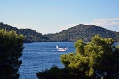 Hidroplane landing. In a laguna of Croatia Stock Photo