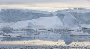 Hiela y los icebergs de regiones polares de tierra fotografía de archivo libre de regalías
