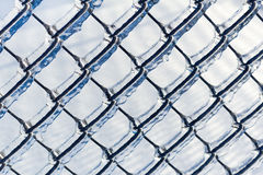 Hiele la cerca revestida de la alambrada de una tormenta de hielo Fotografía de archivo libre de regalías