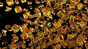 Hiele las figuras geométricas abstractas que vuelan en la cámara lenta representación 3d Fotografía de archivo libre de regalías