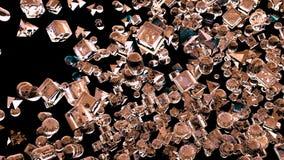 Hiele las figuras geométricas abstractas que vuelan en la cámara lenta representación 3d Imagenes de archivo
