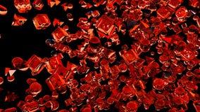 Hiele las figuras geométricas abstractas que vuelan en la cámara lenta representación 3d Imágenes de archivo libres de regalías