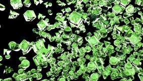Hiele las figuras geométricas abstractas que vuelan en la cámara lenta representación 3d fotografía de archivo