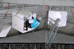 Hiele subir en los cubos en XXII los juegos de olimpiada de invierno Imagen de archivo libre de regalías