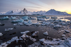 Hielo ártico en el fiordo Imagenes de archivo