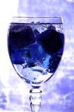 Hielo azul en un vidrio Foto de archivo libre de regalías