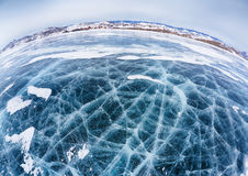Hielo de Baikal en invierno Imagenes de archivo