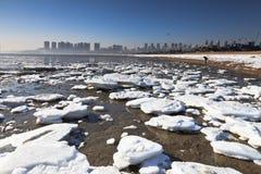 Hielo de fusión en la playa Fotografía de archivo libre de regalías