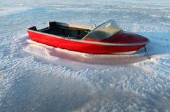Hielo de helada del invierno del barco Fotografía de archivo
