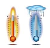 Hielo del fuego del termómetro Imágenes de archivo libres de regalías