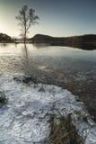 Hielo en el lago Pityoulish cerca de Aviemore en el parque nacional de Cairngorms de Escocia Fotos de archivo