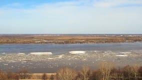 Hielo flotante en el río almacen de video
